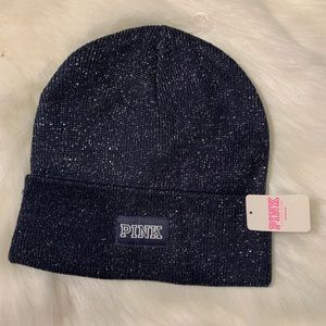 🆕 Victoria's Secret PINK Metallic Blue Beanie